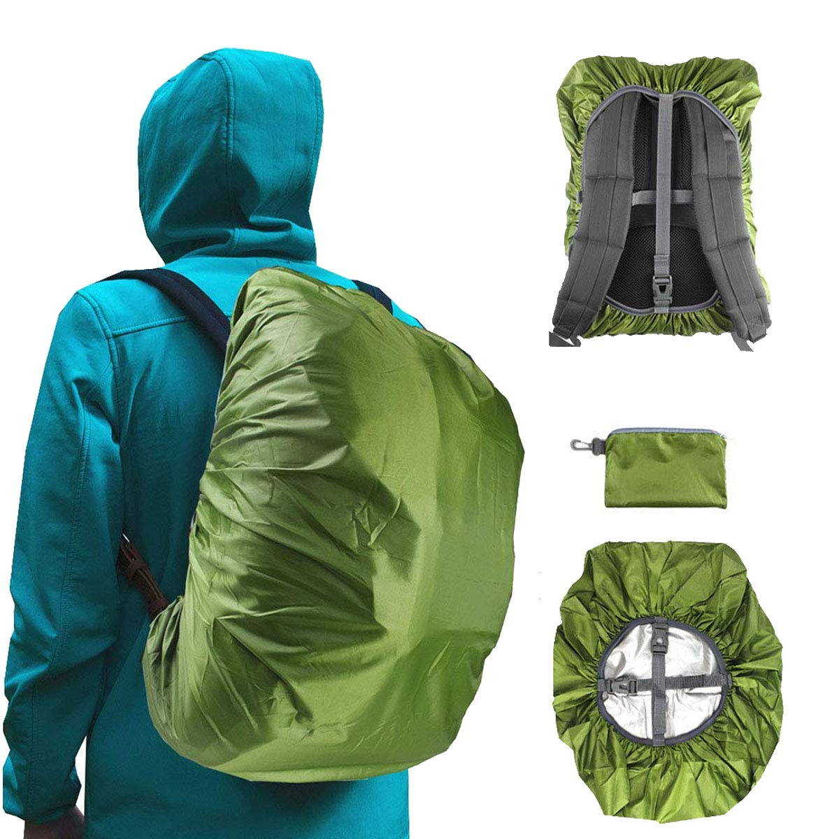 Frelaxy Waterproof Backpack Rain Cover for (15-90L), Upgraded Design & Silver Coated, for Hiking, Camping, Traveling, Outdoor Activities (Army Green, L) by Frelaxy