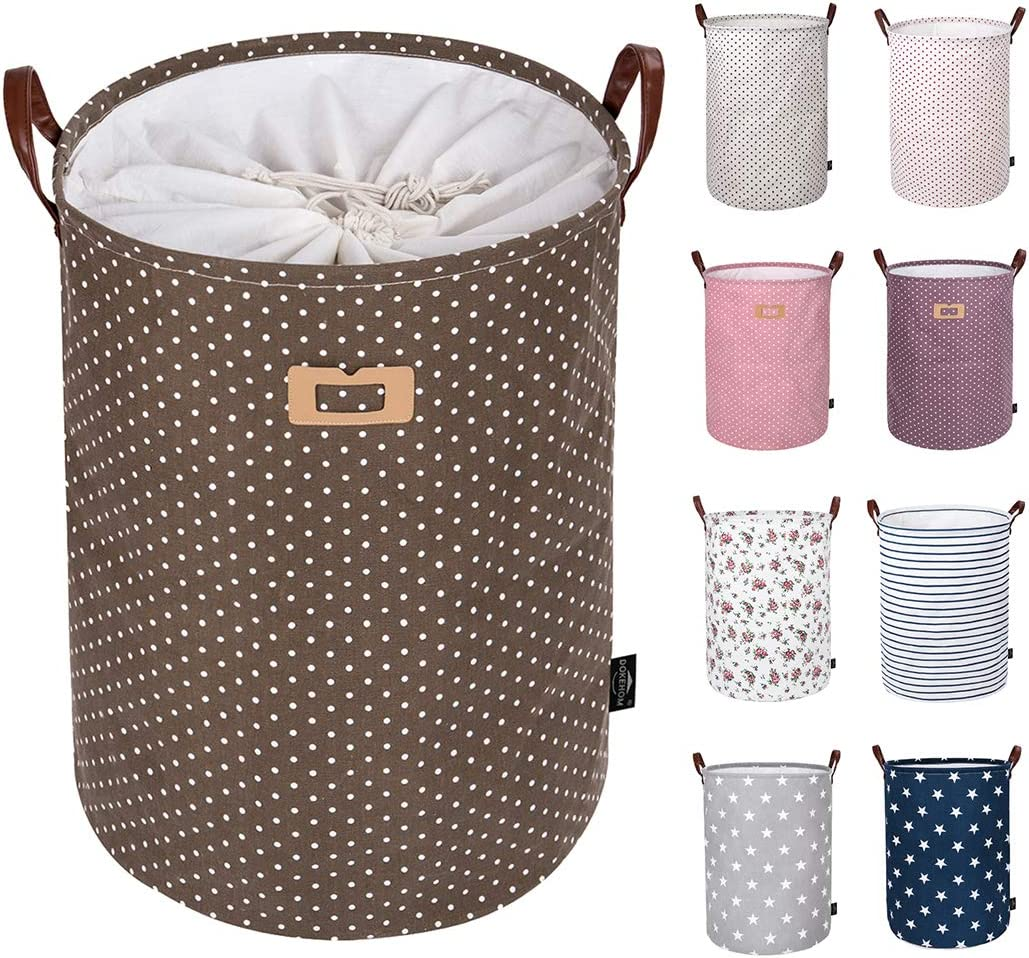 DOKEHOM 19-Inches Thickened Large Laundry Basket -(9 Colors)- with Durable Leather Handle, Drawstring Waterproof Round Cotton Linen Collapsible Storage Basket (Brown Dots, L)