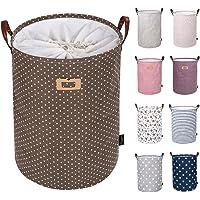 DOKEHOM DKA0822G Round Drawstring Cotton Linen Collapsible Storage Basket