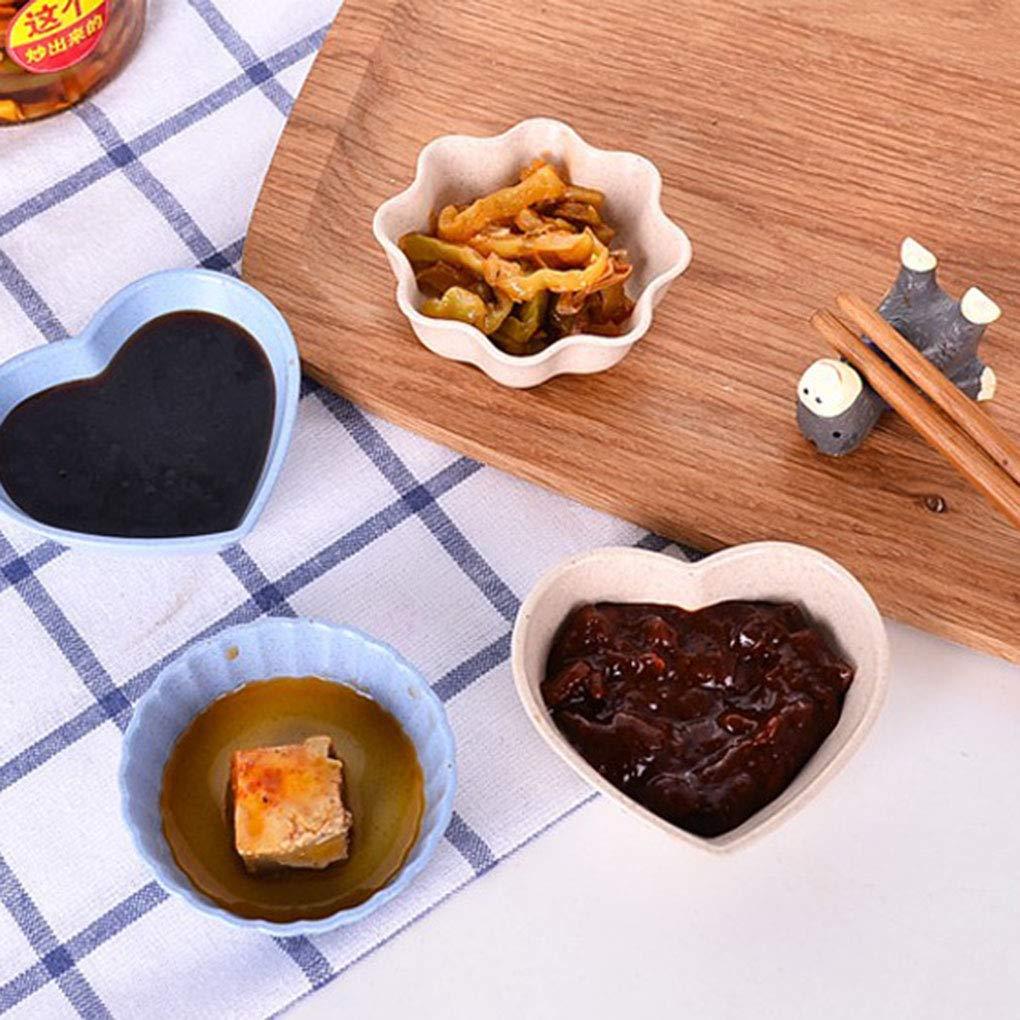 Set Multifonctionnel de Paille de bl/é Assaisonnement Plat Sauces Sel Snacks Petite Assiette vinaigre de Bol de soja Luckiests 4pcs