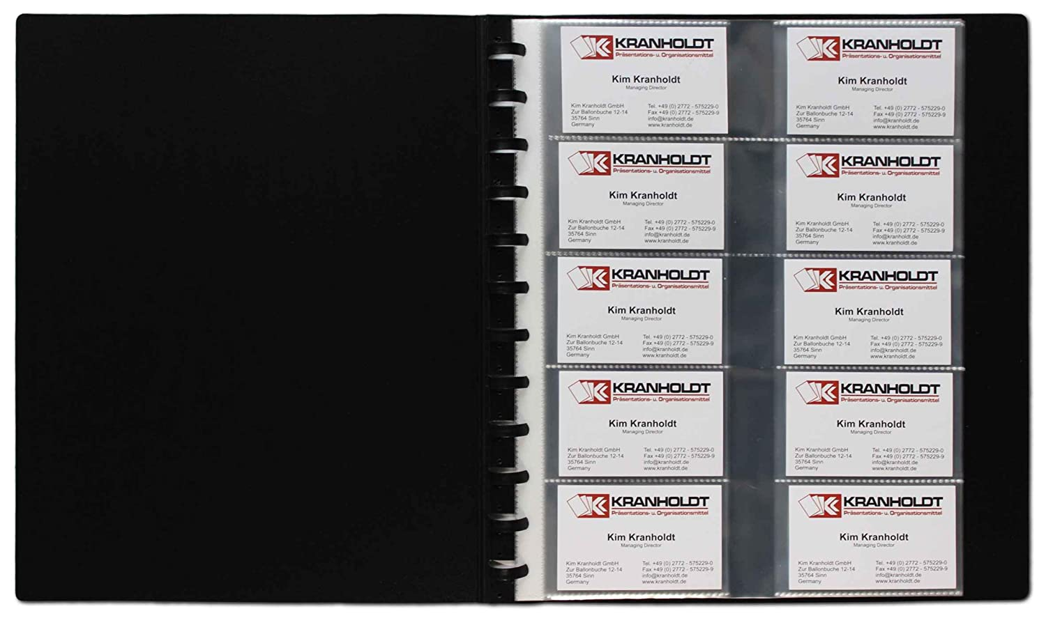 Flexzip Business Card Display Book A4 Black With 10