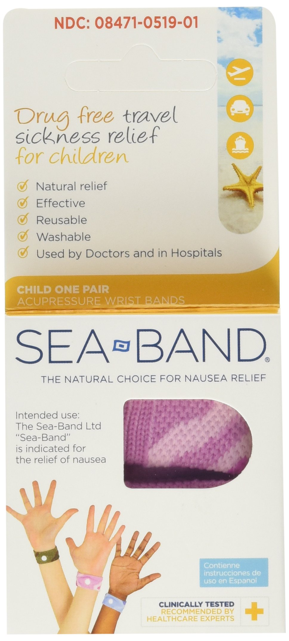 Sea-Band Wristband Child Morning & Travel Sickness (Pack of 2) colors may vary