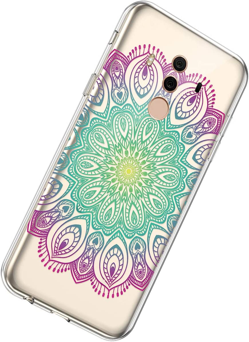 Herbests Compatible with Huawei Mate 10 Pro Case Cute Women Girls Mandala Flower Pattern Crystal Clear TPU Transparent Scratch Resistant Protective Back Cover,Mandala Flower Red Green