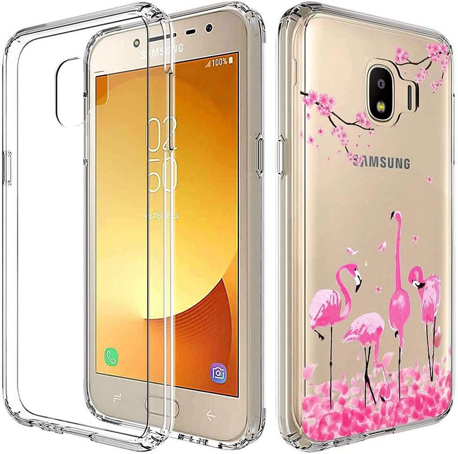2019 Flamingo Glass Screen Protector Slim Clear Soft TPU Silicone Phone Case Cover with 3 in 1 2 Pack for Galaxy J2 core//Galaxy J2 Dash//J2 Pure//J260 Case + Transparent for Samsung Galaxy J2