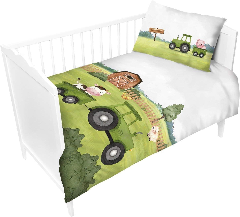 Farm Animals Bedding Set for Baby Pillowcase 40 x 60 cm Green Tractor Duvet Cover 90 x 120 cm