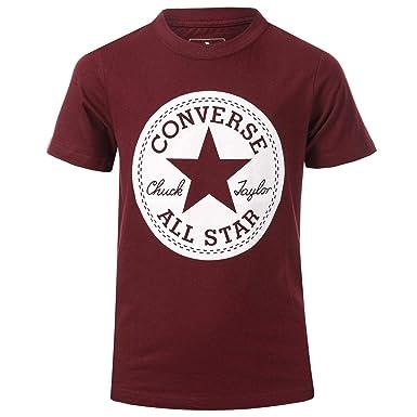 104e2dbf01c1 Converse Junior Boys Chuck Taylor Script T-Shirt in Burgundy- Short  Sleeve-  Converse  Amazon.co.uk  Clothing