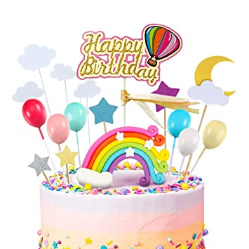 iZoeL Rainbow Cake Topper Kit Cloud Globo aerostático Feliz ...