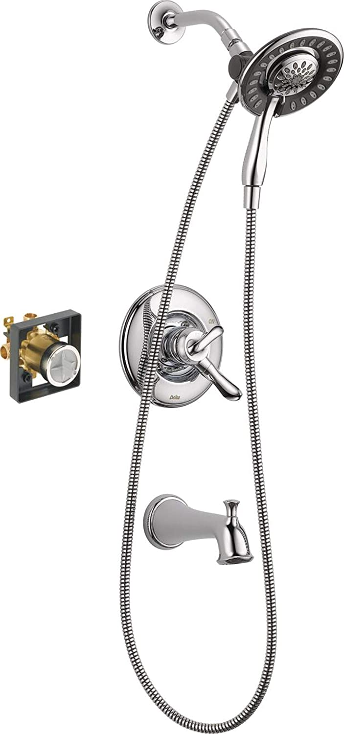 Delta Faucet Linden 17 Series Dual-Function Tub and Shower Trim Kit, Shower Faucet with 4-Spray In2ition 2-in-1 Dual Hand Held Shower Head with Hose, Chrome T17494-I (Valve Included)