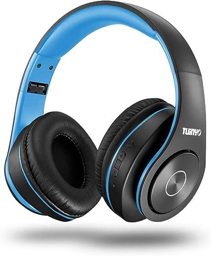 Wireless Headphones Bluetooth Headset Over Ear Stereo Bass Earphones Blue