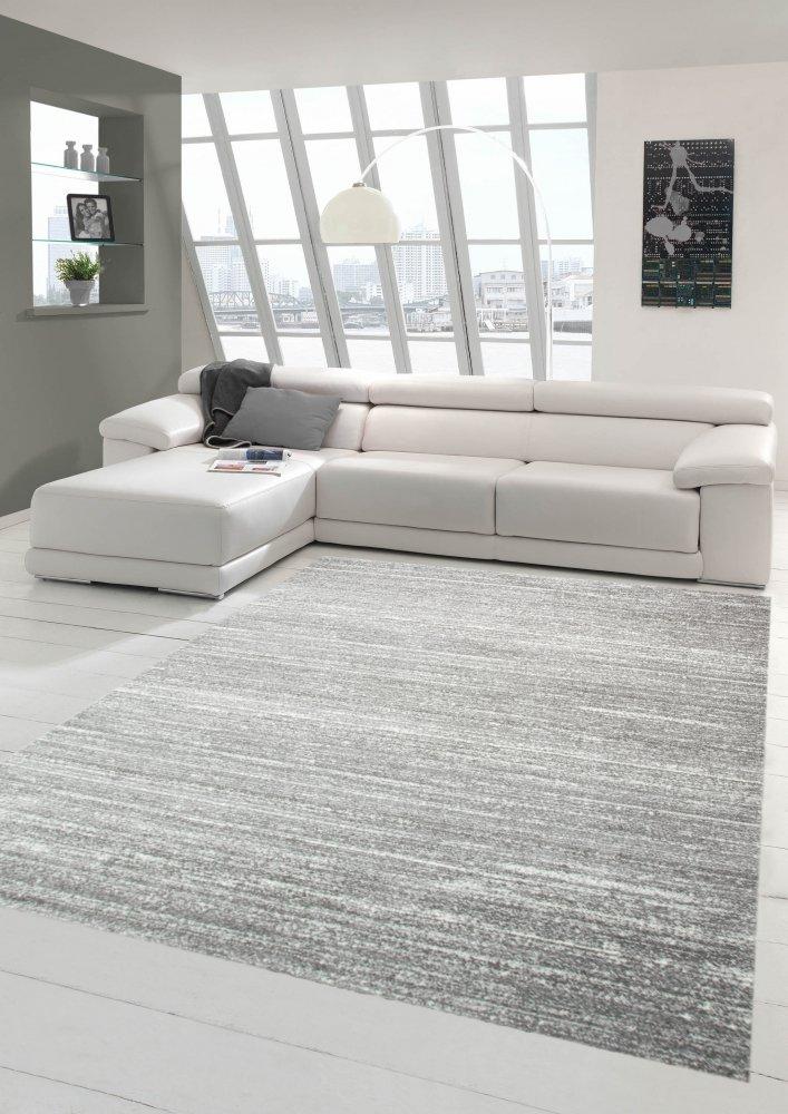 Designer Designer Designer und Moderner Teppich Wohnzimmerteppich Kurzflor Uni Design in Grau Größe 160x230 cm B07C8HQFMF Teppiche aca116