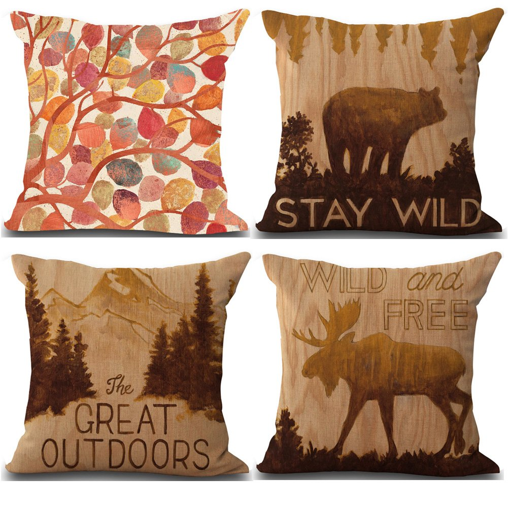 BQ 2Pcs Cushion Cover Retro Vintage Great Outdoors Forest Deer Bear Pattern Pillow Cover Decorative Pillow Case 18 x 18 inches Cotton Linen Blend Square Throw Pillow Cover Cushion for Couch Car Home BQYGO