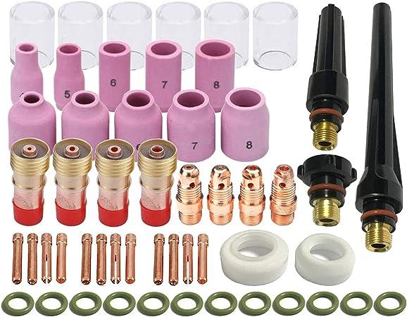 Kits de lentes de gas Rechoncho Kit de copa TIG Pyrex DB SR WP 17 18 26 TIG Soplete de soldadura 26pcs