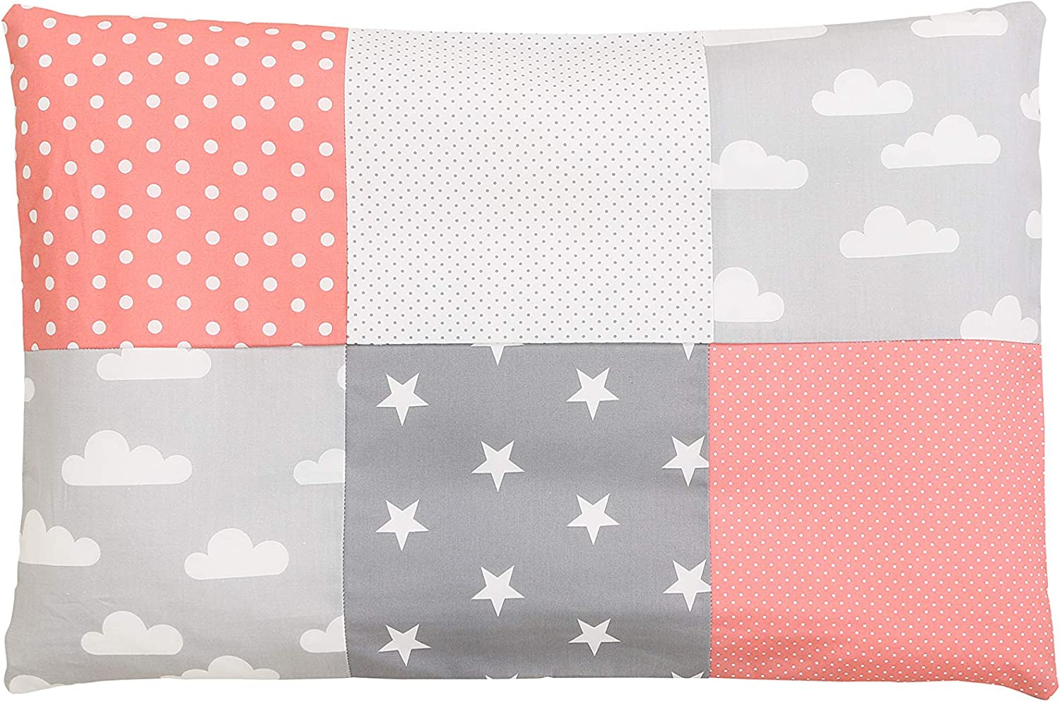 ULLENBOOM//® Baby Pillowcase Blue Light Blue Grey 40 x 60 cm with Zip, can Also be Used as a Decorative Cushion Cover; Motifs: Stars, Patchwork