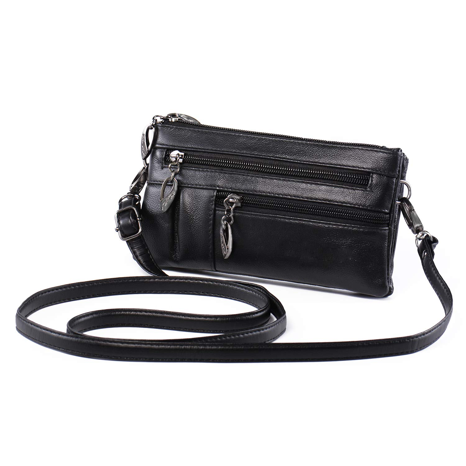 385ef013707f Wristlet Wallet for Women Leather Clutch Handbag Small Crossbody Purse  Cellphone Bag Pouch + Nail Clipper