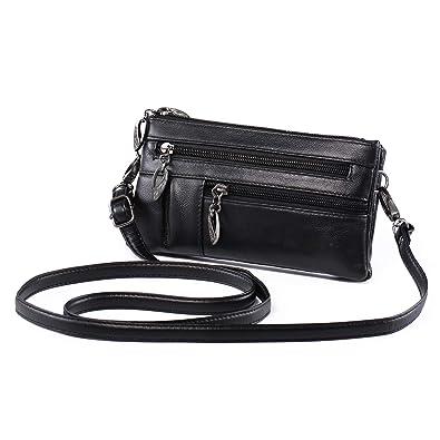 099a10ad76a7a Small Crossbody Purse Leather Wristlet Wallet Women Clutch Handbag Multi Pocket  Cell Phone Bag for 5.5