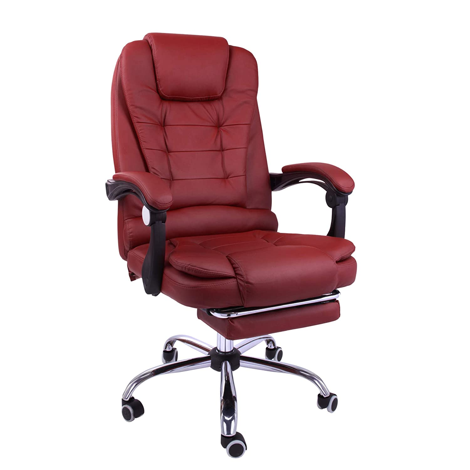Halter Reclining Leather Office Chair - Modern Executive Adjustable Rolling Swivel Chair Headrest with Retractable Footrest (Burgundy)