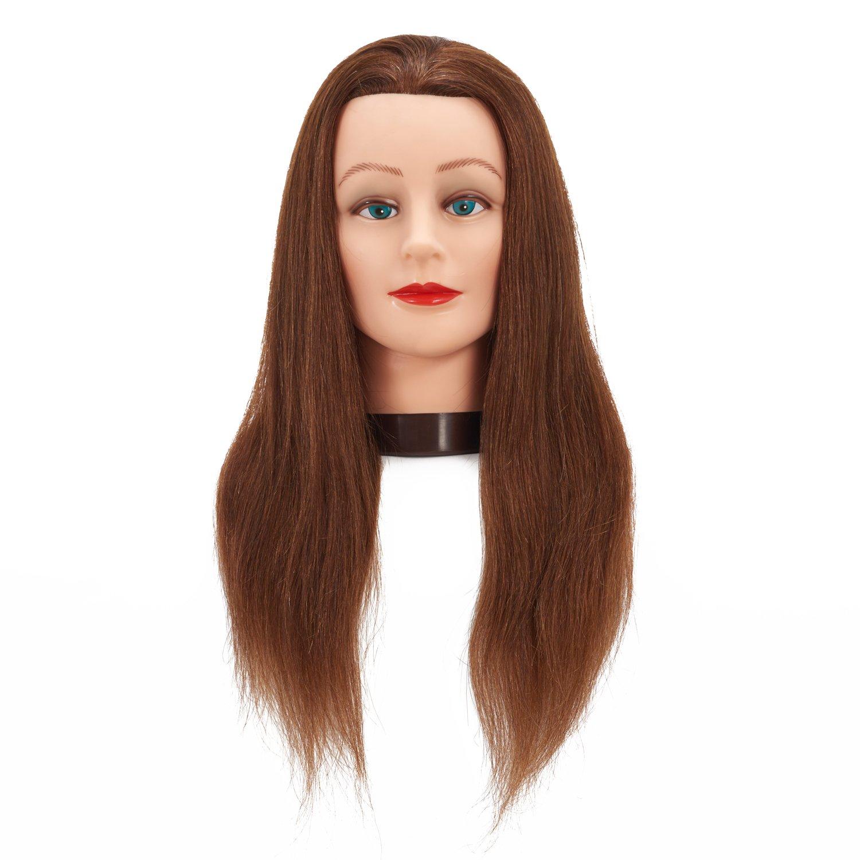 Hairginkgo 61cm - 66cm 100% capelli umani training Practice Head styling Dye cutting Mannequin Manikin Head (94151W0418)