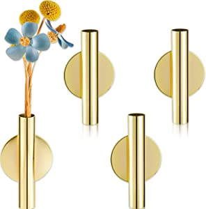 3 Pieces Wall Mounted Flower Tube Wall Metal Vase Decoration Holder Dried Flower Vase Racks with Adhesive Tape for Flower Display Decoration