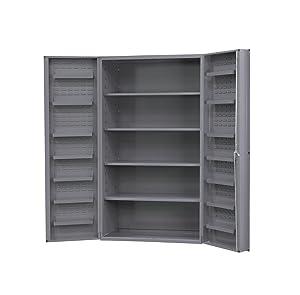 """Durham DC48-4S12DS-95 Lockable Cabinet, 4 Adjustable Shelves, 12 Door Shelves, Deep Door Style, 48"""" Wide, 14 Gauge, Gray"""