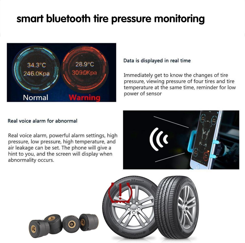 TOOGOO Automotive Reifendruck Kontrolle Reifendruck Tester Intelligente Reifen Sicherheitsmonitor App Verbindung Tpms Mit Schluessel