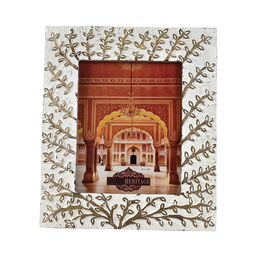 Indian Heritage Wooden Photo Frame 8x10 Mango Wood Carving Design with White Distress Finish