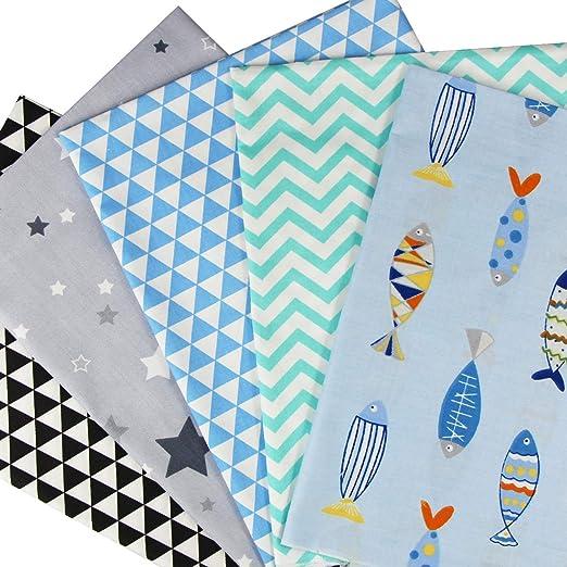 aufodara 5pcs 50 x 50 cm, diseño de retales algodón Tejido DIY Patchwork Hecho a Mano Costura Quilting Tela diseños Diferentes: Amazon.es: Hogar