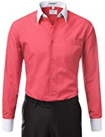 IDARBI Men's Regular Fit Two Tone Long Sleeve Dress Shirt S-3XL (20 Colors)