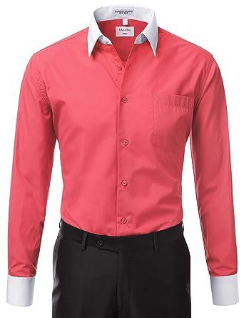 IDARBI Men's Regular Fit Two Tone Long Sleeve Dress Shirt S-3XL ...