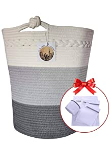 """Cotton Rope Basket - 17.8"""" x 15.8"""" x 13.8"""" Woven Baby Laundry Basket - Woven Basket Nursery Bin - Large Baskets for Blankets- Thread Laundry Hamper - Woven Storage Basket- Rope Baskets for organizing"""