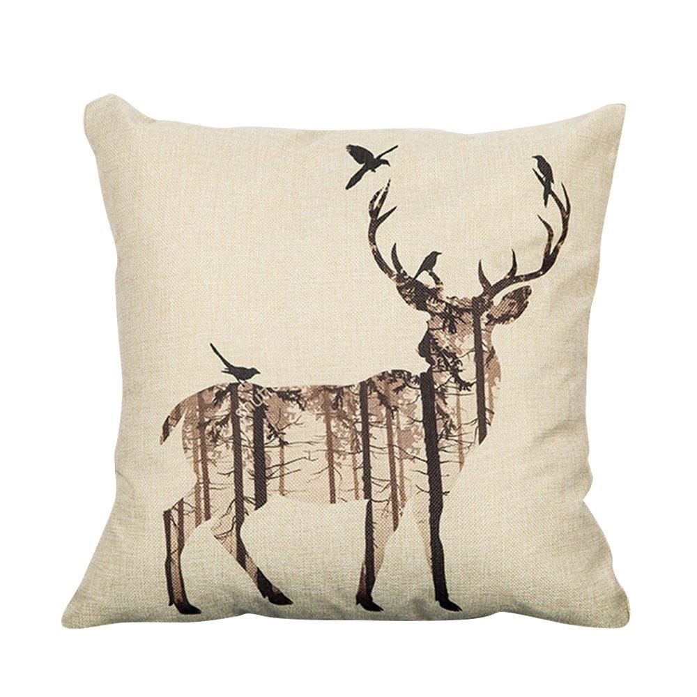 Prime Leader Forest Deer Elkと鳥ホーム装飾クリスマス装飾スロー枕ケースソファクッションカバー本体は含まれません 18