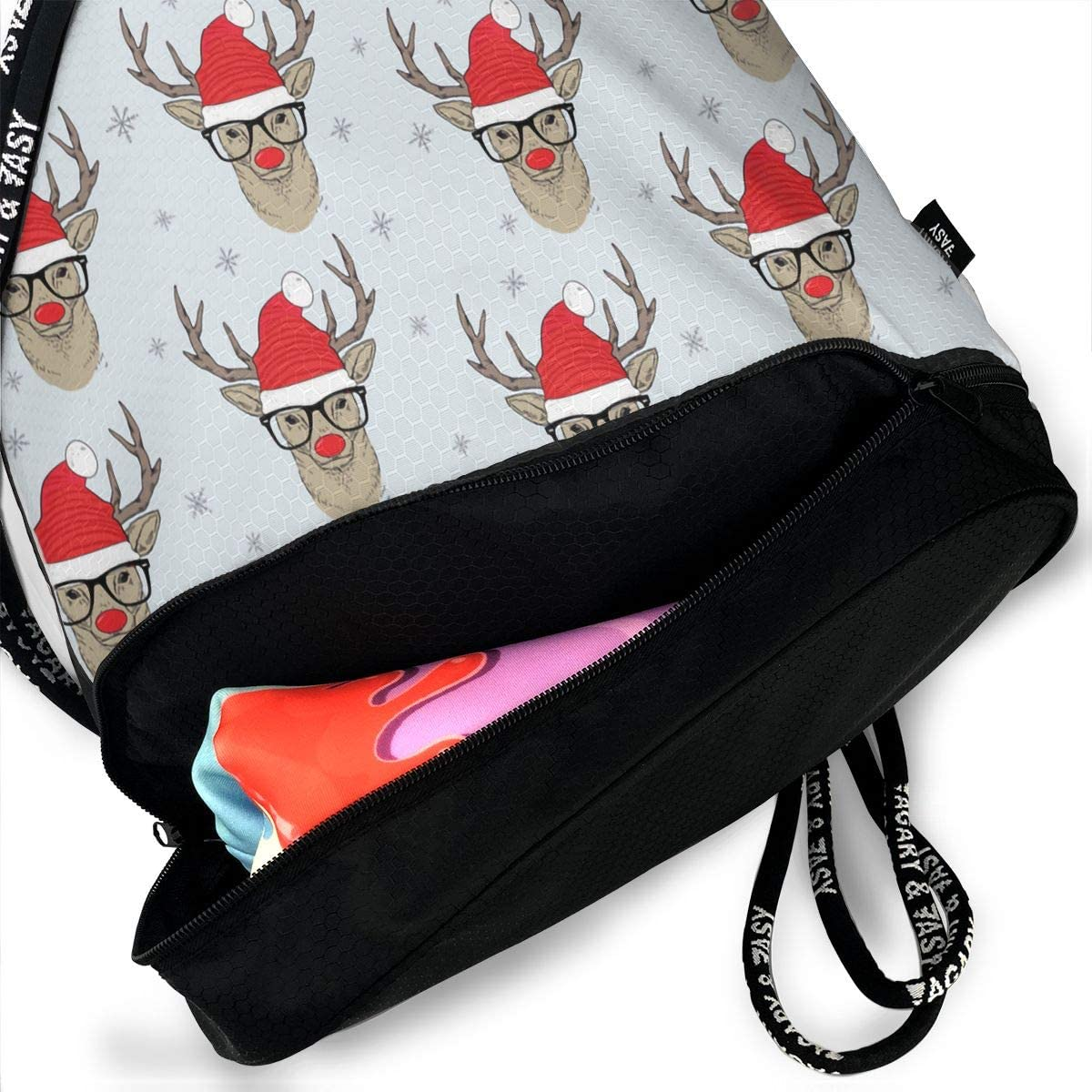 Drawstring Backpack Hipster Rudolf With Snowflake Bags