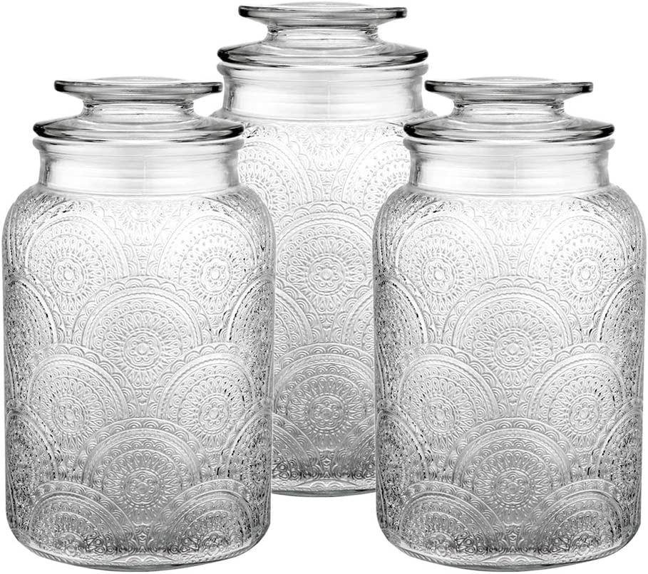 Daitouge 54 oz Glass Cookie Jars with Lids, Glass Canister for Kitchen or Bathroom, Apothecary Jars With Retro Design w & Extra Blank Labels & Chalkboard Pen, Set of 3
