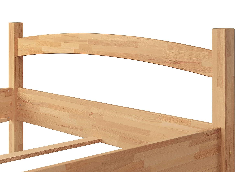 Elegante matrimoniale 140x200 in Faggio Eco laccato con assi di legno e materasso 60.73-14 M