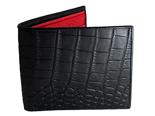 a173da31e09c Image Unavailable. Image not available for. Color  Black Crocodile Wallet → Genuine  Crocodile Leather → Black   Red