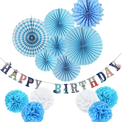 Blue Theme Party Decorations Kit Paper Fans Happy Birthday Banner Pom Poms Flowers For Baby Boy 1st 14 Pieces SUNBEAUTY