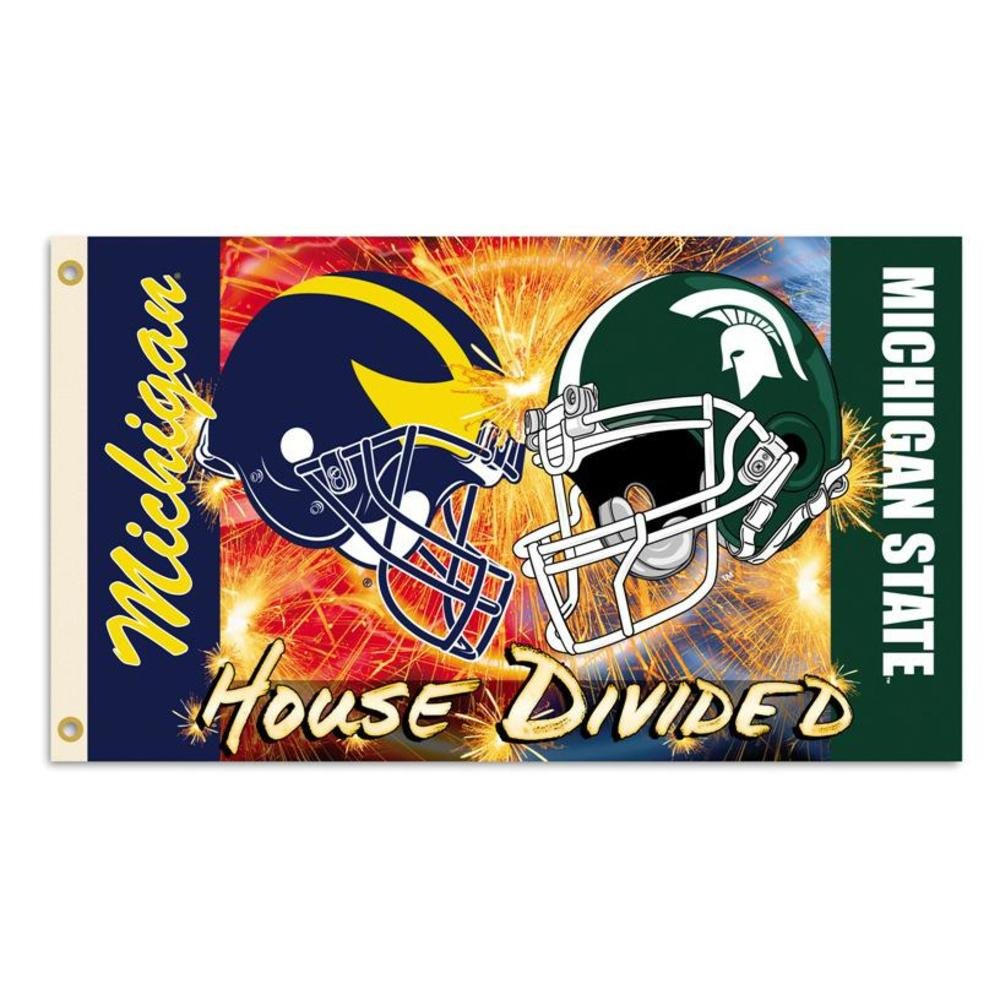 NCAA 3' X 5' Rivalry House Divided Clashing Helmets Flag with Grommets