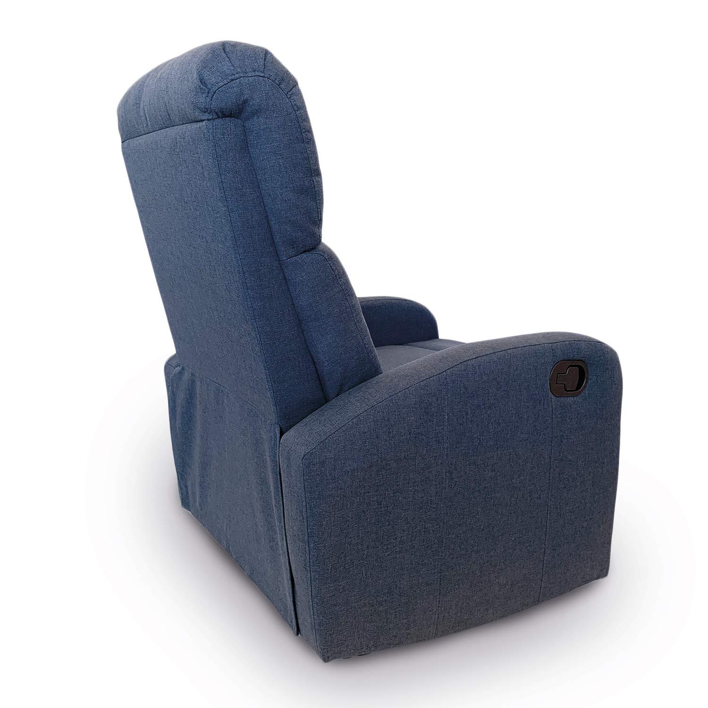 Astan Hogar Sillón Relax con Reclinación Manual, Tapizado en Tela. Modelo Premium Plus AH-AR30610DN, Azul Denim,