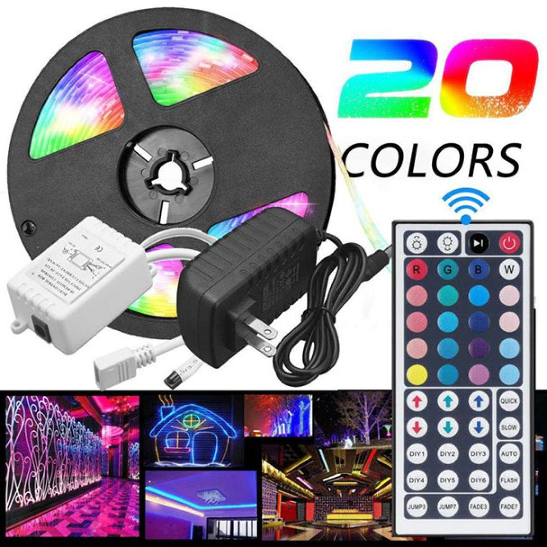 Rumas Waterproof 5050 RGB LED Light 44 Keys Remote Control - 5M 300 LEDs 20 Colors - Light DIY Decor Patio Lawn Street Road Home Office Shop Mall Hotel Dining (Colorful)