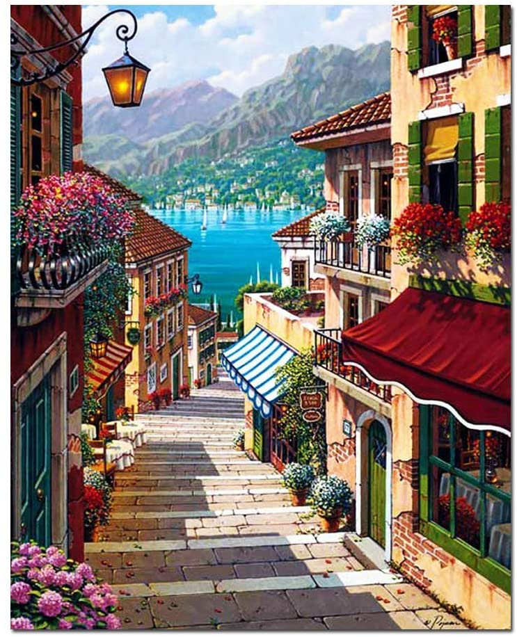 Lapoea DIY Oil Painting Paint by Number Kits Painting for Adults and Kids Arts Craft for Home Wall Decor Harbour Town 40x50CM