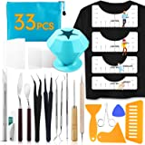 33pcs Weeding Tools for Vinyl T-Shirt Ruler Guide with Scrap Collector Craft Tool Set for Silhouettes, Lettering, Cutting, Sp