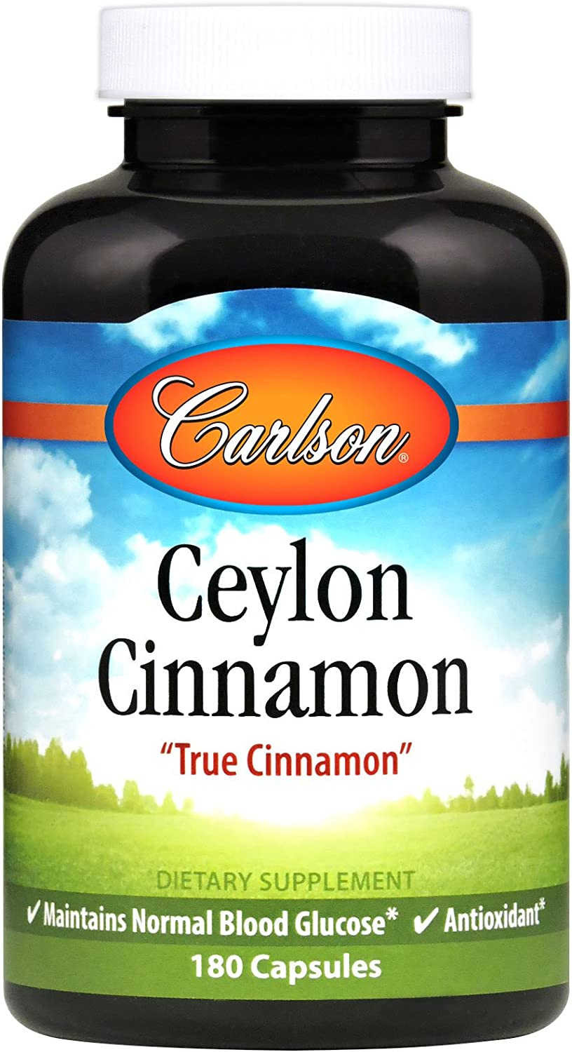 Carlson – Ceylon Cinnamon, 500 mg, Healthy Blood Sugar, True Cinnamon, 180 capsules
