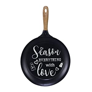 "NIKKY HOME 15"" x 24"" Pan Shaped Metal Wall Kitchen Sign with Quote Season Everything with Love, Black"