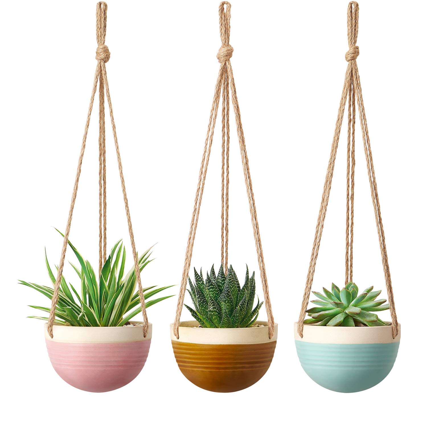 Mkono Ceramic Hanging Planter Colorful Flower Plant Pots 4.5 Inch Round Plant Holder Container with Jute Rope Hanger for Indoor Outdoor Succulent Herbs Ivy Ferns Crawling Plants, 3 Packs