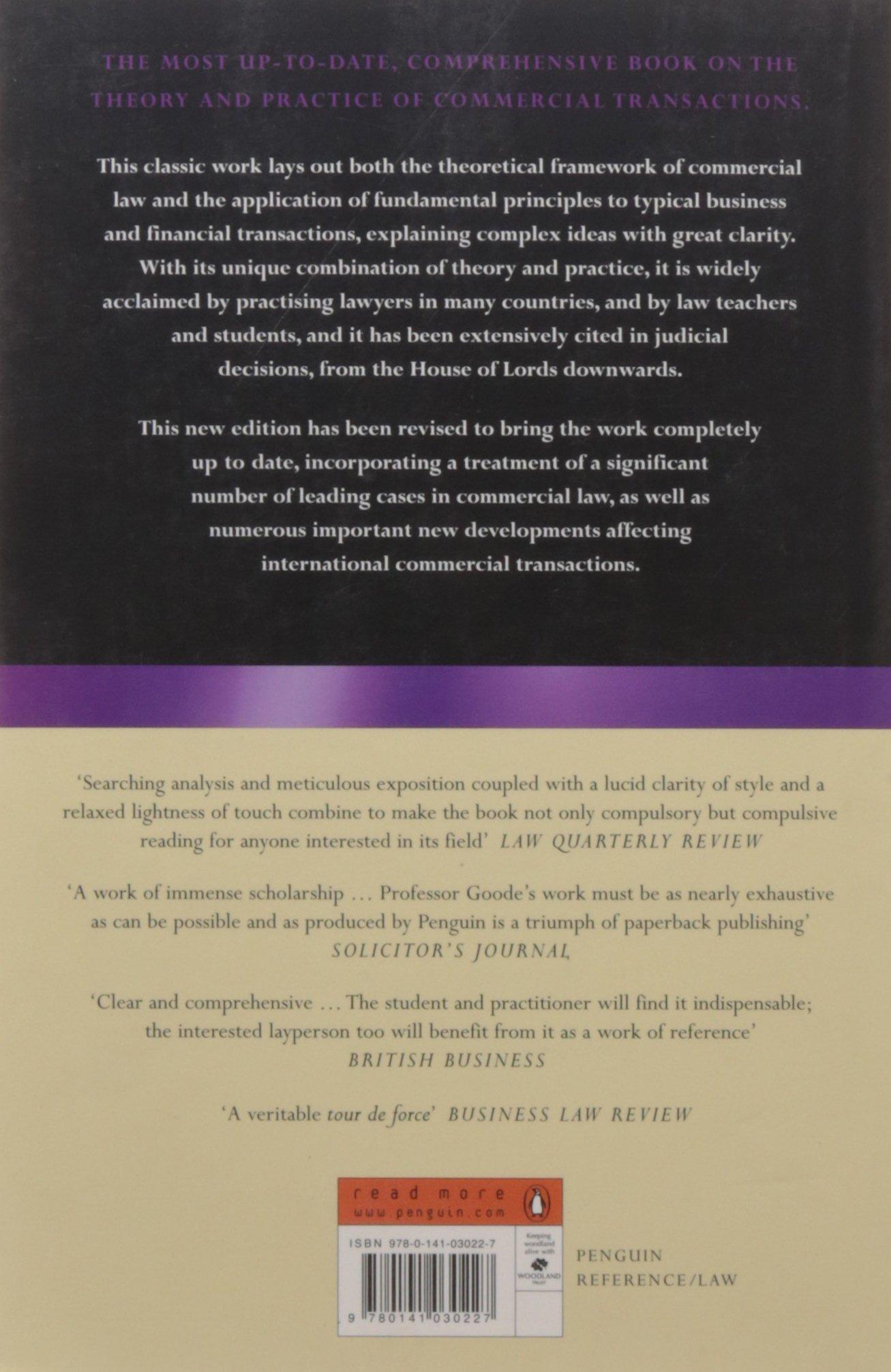 Goode on Commercial Law: Fourth Edition: Amazon.co.uk: Ewan McKendrick, Roy  Goode: 9780141030227: Books
