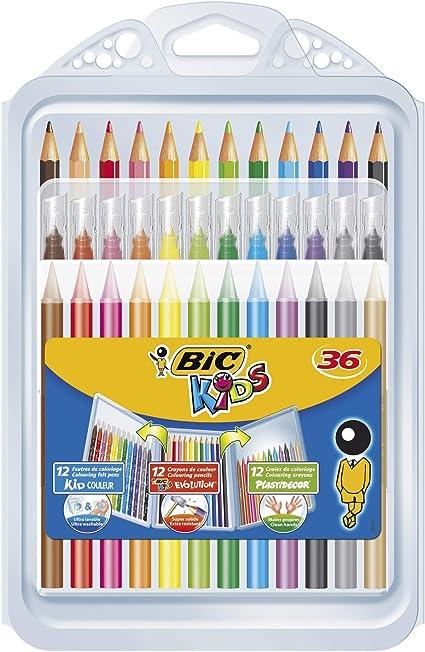 BIC Kids Set para Colorear - 8 rotuladores/8 Lápices para Colorear/12 Ceras, colores Surtidos, Estuche de 36 unidades: Amazon.es: Oficina y papelería