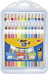 BIC 8877011 Kids Colouring Set - 8 Marker Felt Pens/8 Colouring Pencils/12 Colouring Crayons, Assorted Colours, Portable Case of 36 Pieces