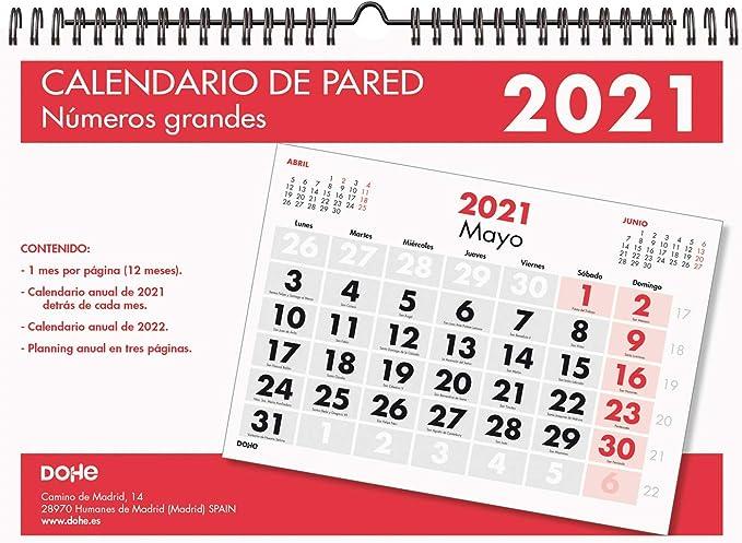 Dohe - Calendario Anual - Calendario Pared - Tamaño A4 - Con Números grandes - 32 Páginas: Amazon.es: Oficina y papelería
