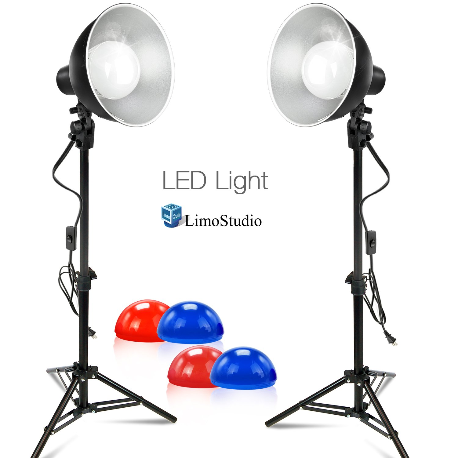 Limostudio Set of 2 LED Table Top Photo Studio Bowl Reflector Lighting Kit with Mini Light Stand Tripods, Energy Saving Light Bulbs, and Color Filters, AGG2637
