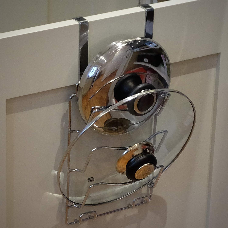 Maison & White Soporte para tapas y sartenes | Estante de almacenamiento colgante | Colgable en las puertas del armario de la cocina | Cromo: Amazon.es: ...