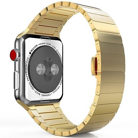MoKo Correa para Apple Watch Series 1/2 / 3 - Reemplazo SmartWatch Band de Reloj de Acero Inoxidable Bracelete con Hebilla de Cierre Mariposa Pulsera ...